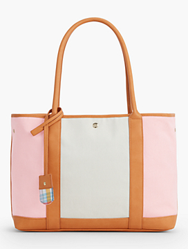 Cotton Canvas Satchel-Colorblocked