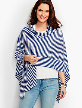 Spliced Stripe Linen Ruana