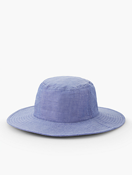 Chambray Wide Brim Bucket Hat