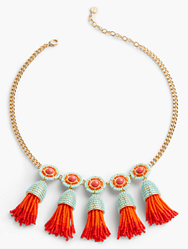 Tassel & Disc Bib Necklace