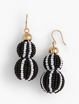 Seed-Bead Double-Drop Earrings