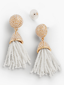 Seed-Bead Tassel Earrings