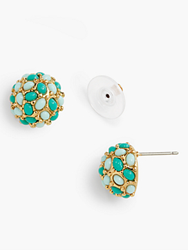 Cabochon-Encrusted Ball Earrings