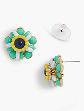 Cabochon Flower Stud Earrings