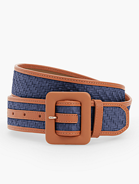Straw & Pebbled Leather Buckle Belt