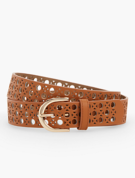 Perforated Soft Vachetta Leather Belt