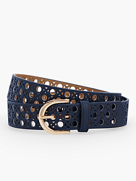 Perforated Pebbled Leather Belt