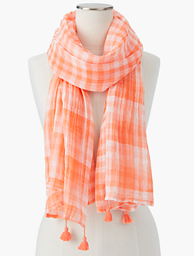 Tasseled Gingham Scarf