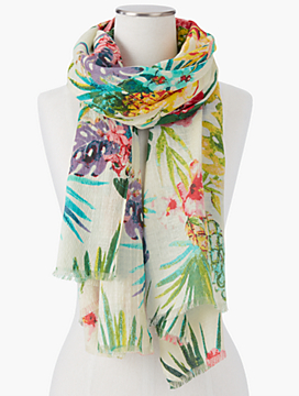 Fringed Tropical Flowers Scarf