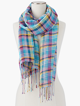 Twisted Fringe Madras Plaid Scarf
