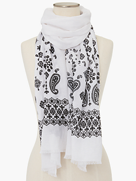 Fringed Embroidered Bandana Paisley Scarf