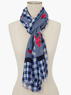 Mixed-Gingham & Flower Scarf