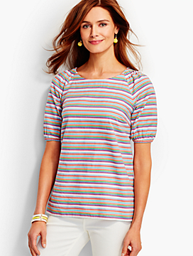 Easy Cotton Top-Rainbow Stripes