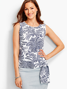 Side-Tie Crepe Top-Regal Palms