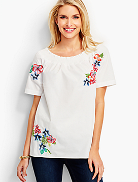 "Embroidered ""Off-The-Shoulder"" Top"