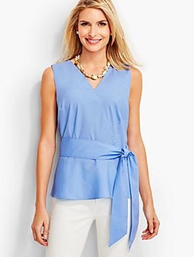 Faux-Wrap Peplum Top
