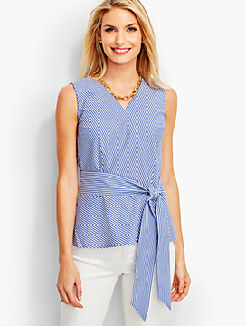Faux-Wrap Peplum Top-Rhodes Stripes