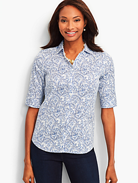 The Perfect Elbow-Sleeve Shirt-Dotted Scalloped Paisley