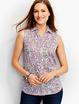 The Perfect Sleeveless Shirt-Paisley