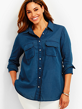 Cotton Voile Button-Front Shirt