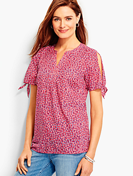 Tie-Sleeve Top-Heart Daisies