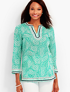 Embroidered Paisley-Print Tunic