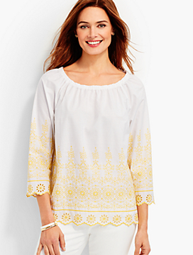 Embroidered-Eyelet Tunic