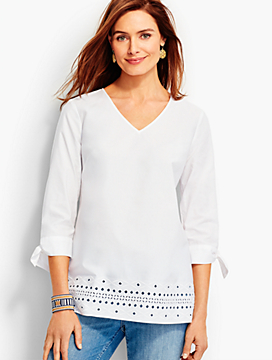 Tie-Sleeve Embroidered-Eyelet Tunic
