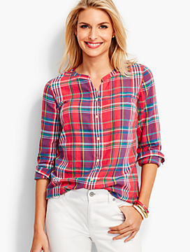 The Jewel-Neck Casual Shirt-Marimba Plaid