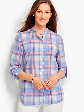 Plaid Ruffled-Collar Shirt
