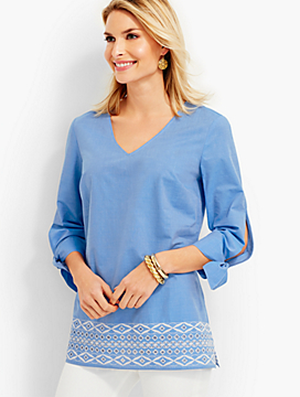 Tie-Sleeve Embroidered-Eyelet Contrast-Border Tunic
