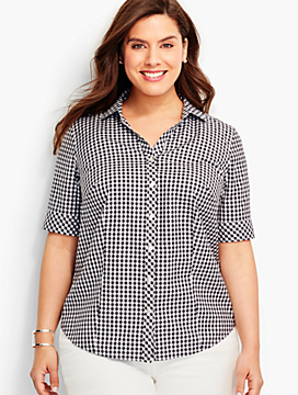 The Perfect Elbow-Sleeve Shirt-Picnic Gingham