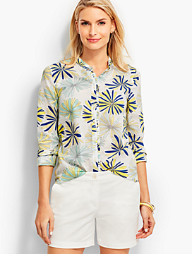 Looped Petals Ruffled-Collar Shirt