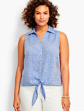 Tie-Front Linen Shirt-Clover Embroidered