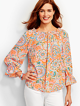 "Medallion ""Off-The-Shoulder"" Blouse"