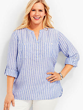 The Linen Camp Shirt-Stripes