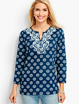 Three-Quarter Sleeve Embroidered Tree of Life Tunic