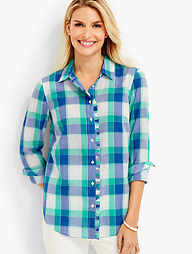 Ibiza Plaid Ruffled Button-Down Shirt