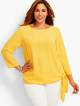 Womans Side-Tie Crepe Top