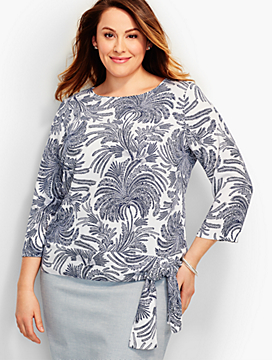Womans Regal Palms Side-Tie Crepe Top