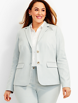 Star Dobby-Weave Double-Button Blazer