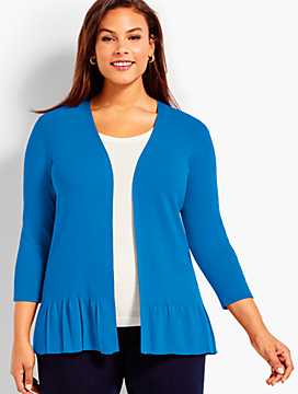 Ruffled-Hem No-Close Cardigan
