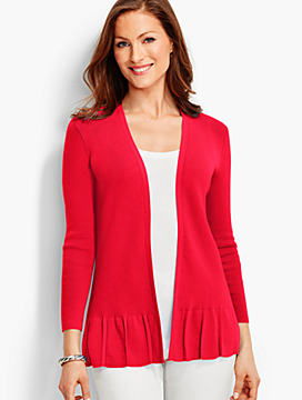 Three-Quarter Sleeve Ruffled No-Close Cardigan