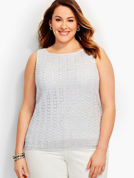 Crochet Sweater Shell - Silver Sparkle