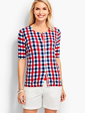 Elbow-Sleeve Charming Cardigan - Gingham Checks