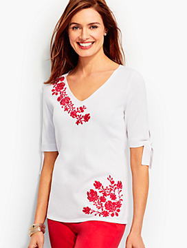 Embroidered Tie-Sleeve V-Neck Sweater