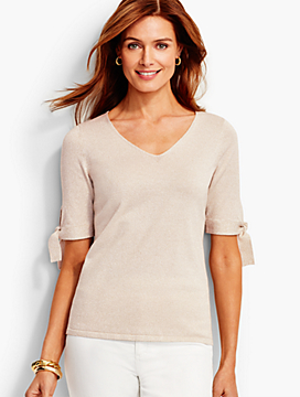 Tie-Sleeve V-Neck Sweater - Gold Sparkle