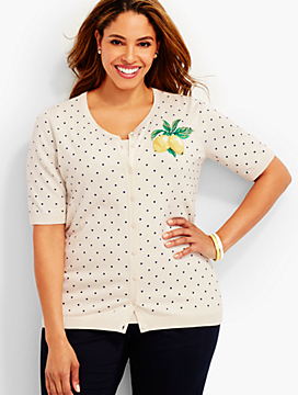Elbow-Sleeve Charming Cardigan - Embroidered Dots & Lemons