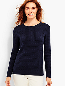 Combed Cotton Cable-Knit Sweater