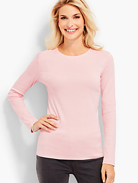 Pima Cotton Long-Sleeve Crewneck Tee-The Talbots Tee